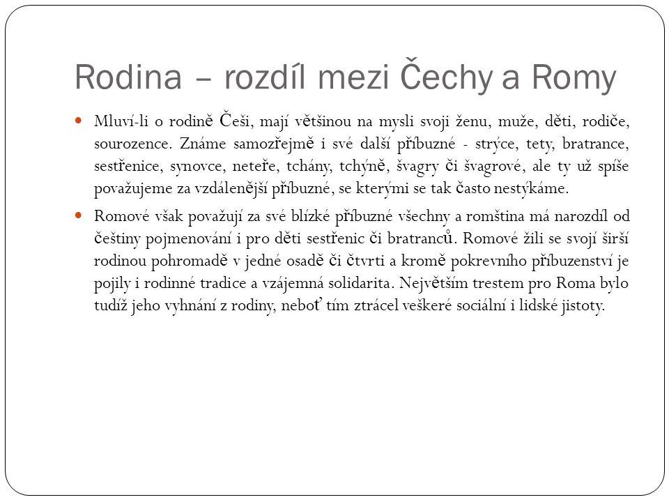 Rodina – rozdíl mezi Čechy a Romy