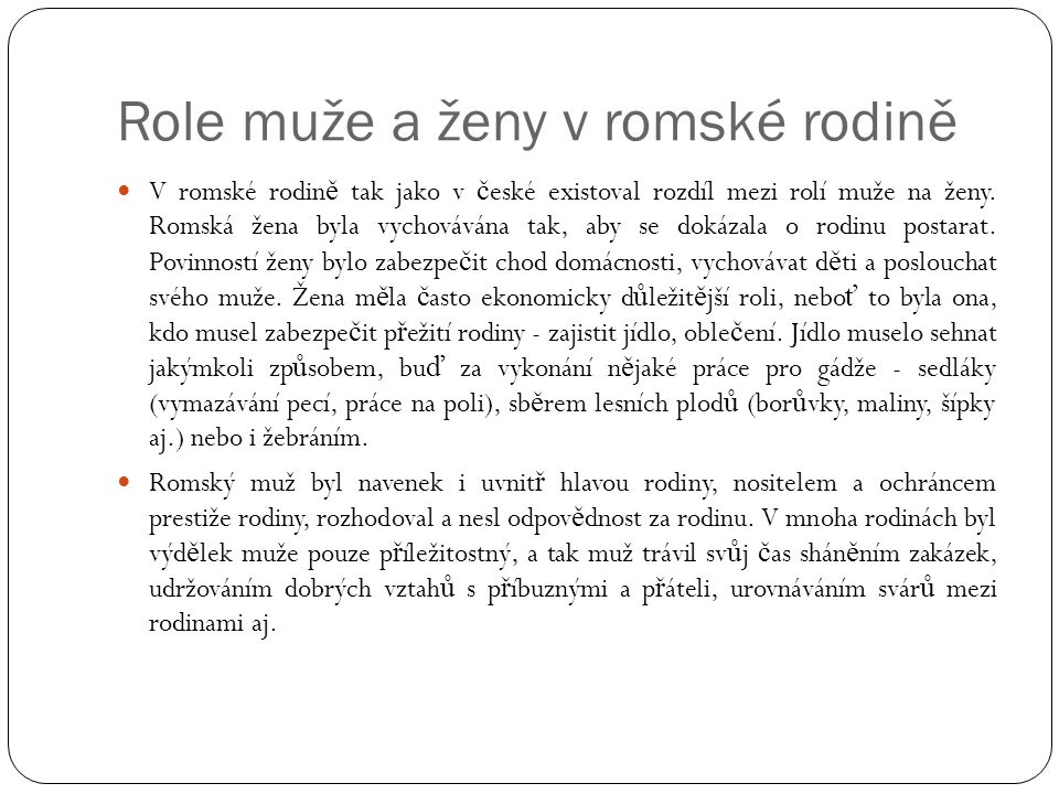 Role muže a ženy v romské rodině