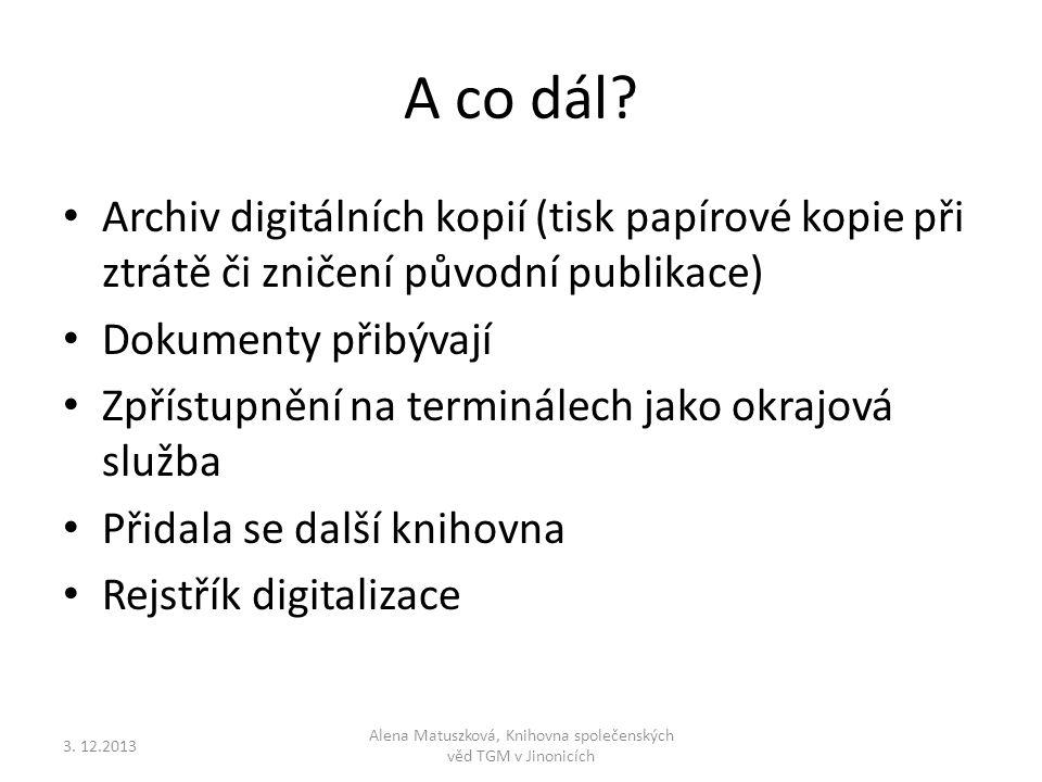 Alena Matuszková, Knihovna společenských věd TGM v Jinonicích