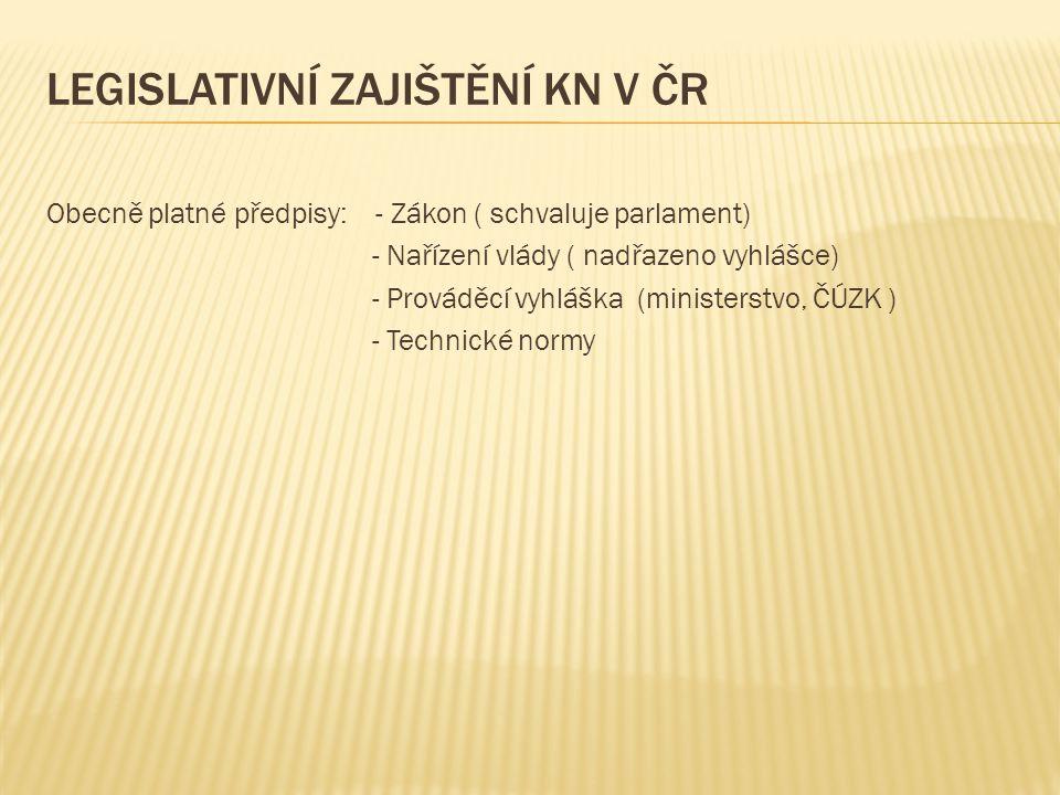 legislativní zajištění KN v ČR