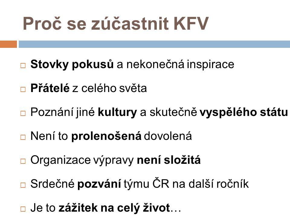 Proč se zúčastnit KFV Stovky pokusů a nekonečná inspirace
