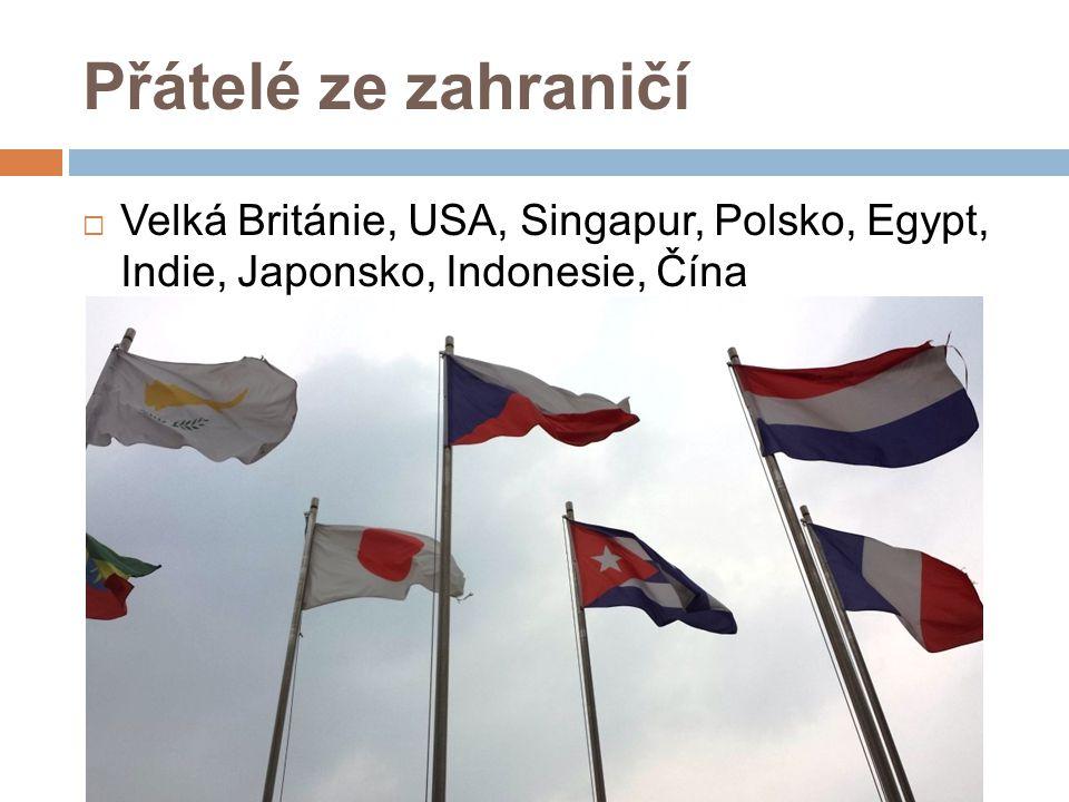 Přátelé ze zahraničí Velká Británie, USA, Singapur, Polsko, Egypt, Indie, Japonsko, Indonesie, Čína.