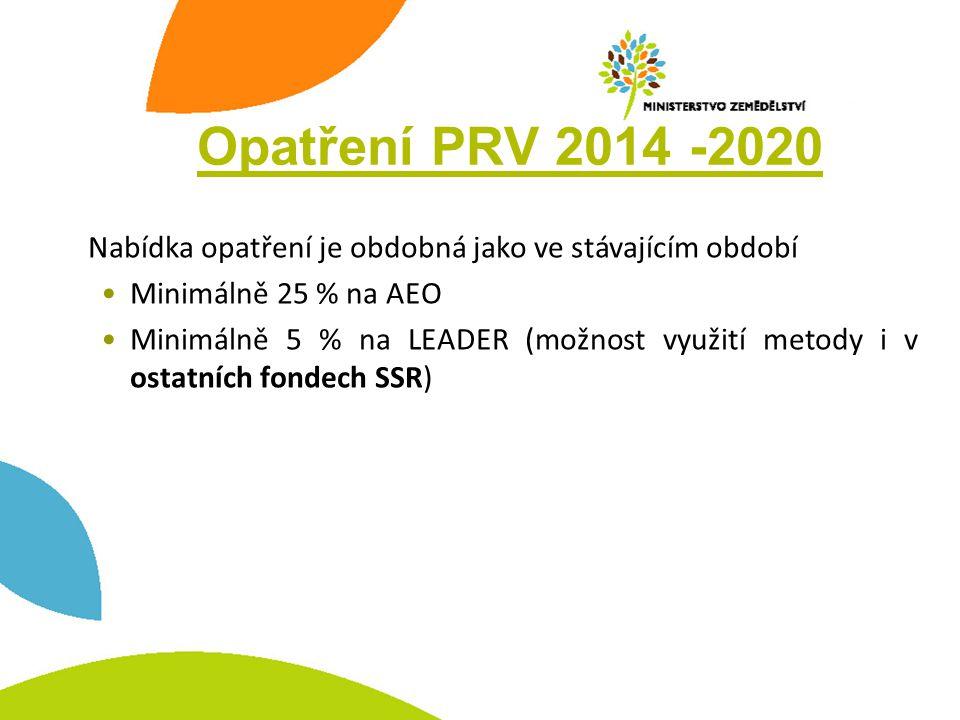 Opatření PRV 2014 -2020 Nabídka opatření je obdobná jako ve stávajícím období. Minimálně 25 % na AEO.