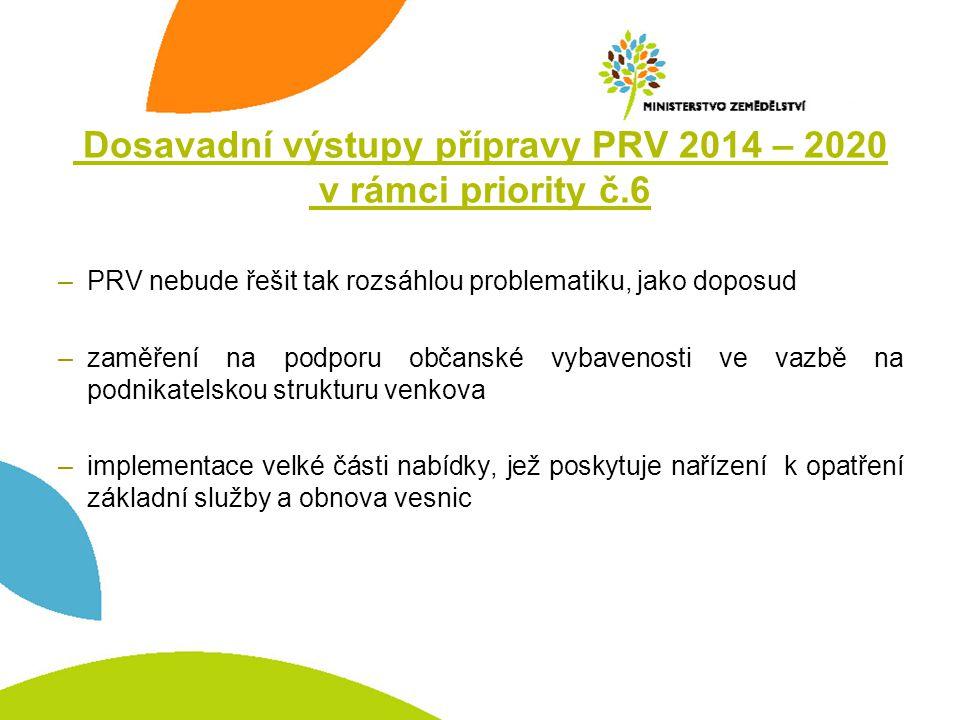 Dosavadní výstupy přípravy PRV 2014 – 2020 v rámci priority č.6