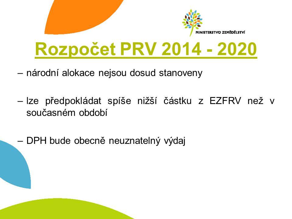 Rozpočet PRV 2014 - 2020 národní alokace nejsou dosud stanoveny