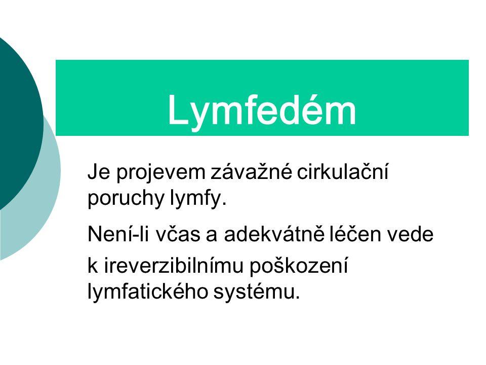 Lymfedém Je projevem závažné cirkulační poruchy lymfy.