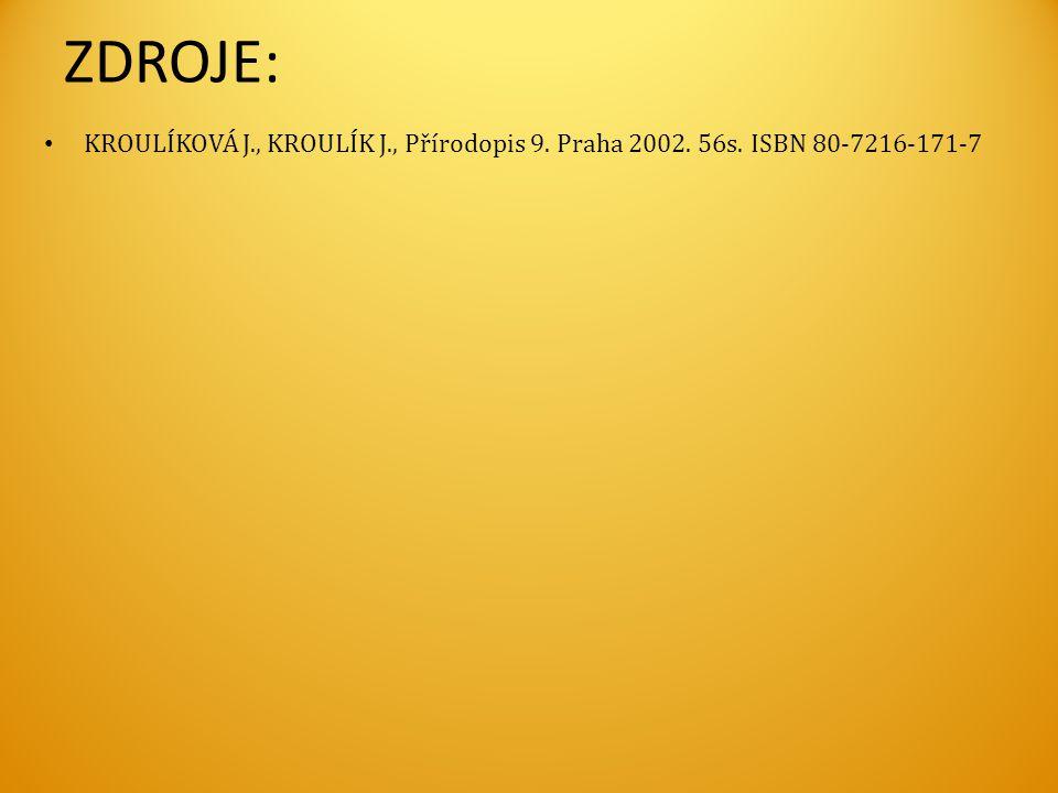 ZDROJE: KROULÍKOVÁ J., KROULÍK J., Přírodopis 9. Praha 2002. 56s. ISBN 80-7216-171-7