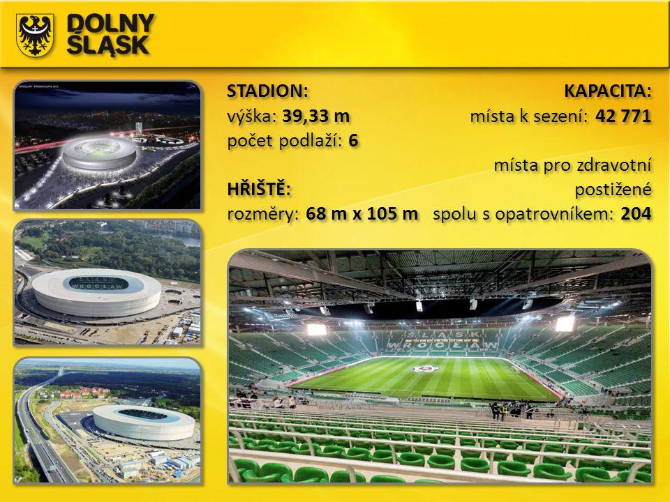 STADION: výška: 39,33 m počet podlaží: 6