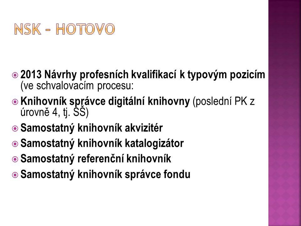 NSK – hotovo 2013 Návrhy profesních kvalifikací k typovým pozicím (ve schvalovacím procesu: