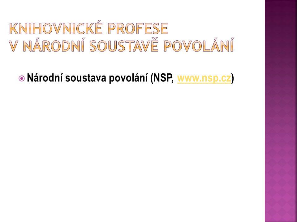 Knihovnické profese v Národní Soustavě povolání