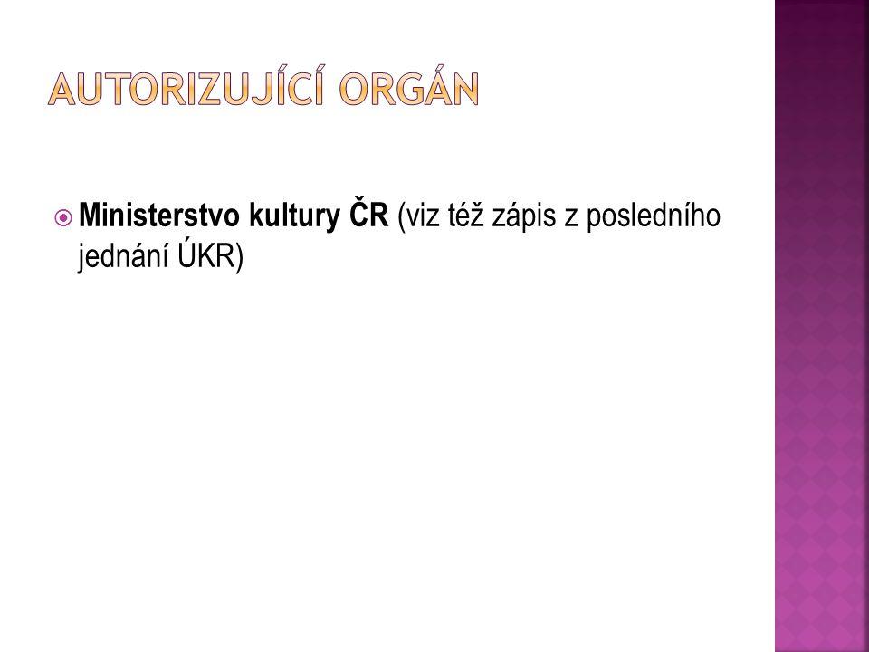 Autorizující orgán Ministerstvo kultury ČR (viz též zápis z posledního jednání ÚKR)