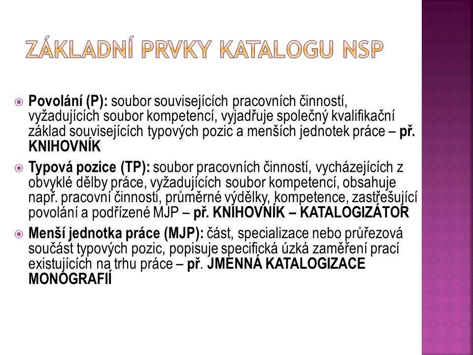 Základní prvky katalogu NSP