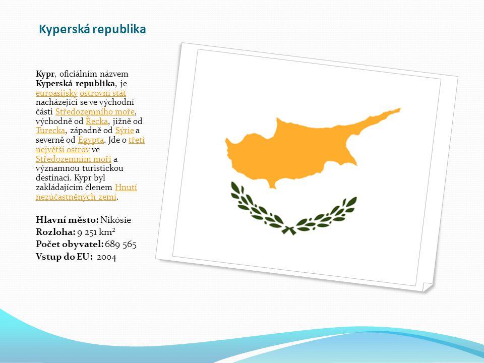 Kyperská republika Hlavní město: Nikósie Rozloha: 9 251 km²