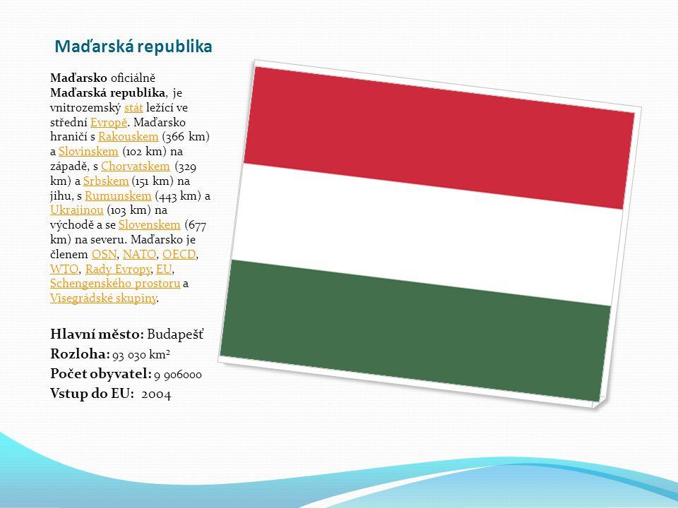 Maďarská republika Hlavní město: Budapešť Rozloha: 93 030 km²