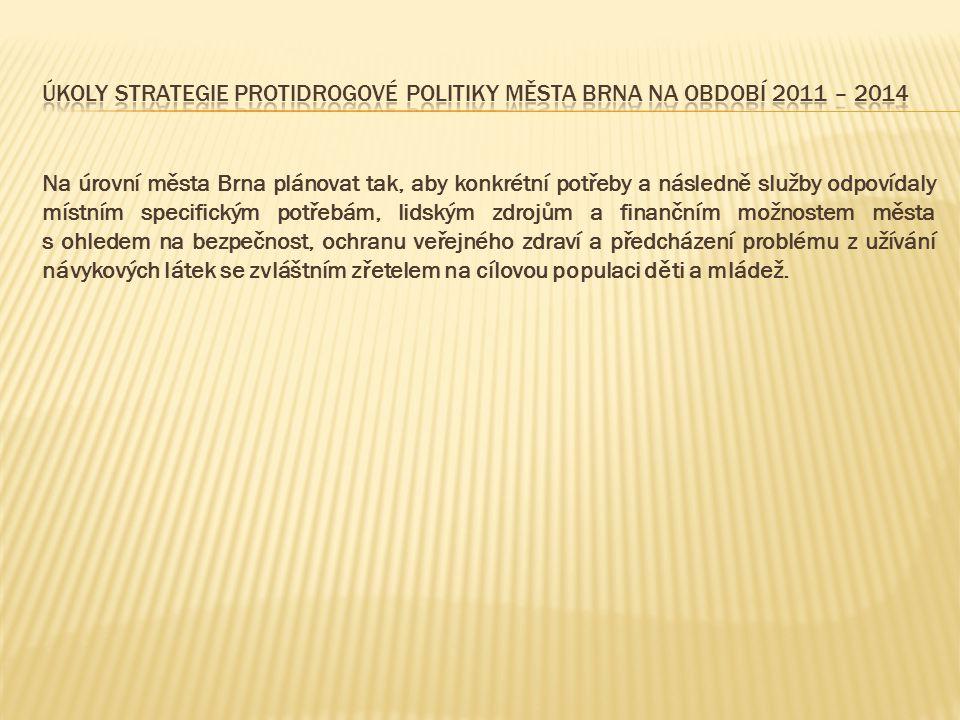 Úkoly Strategie protidrogové politiky města Brna na období 2011 – 2014