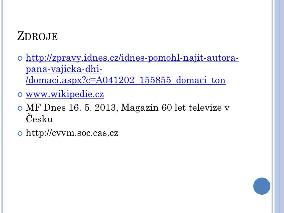 Zdroje http://zpravy.idnes.cz/idnes-pomohl-najit-autora- pana-vajicka-dhi- /domaci.aspx c=A041202_155855_domaci_ton.