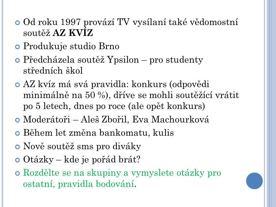 Od roku 1997 provází TV vysílaní také vědomostní soutěž AZ KVÍZ