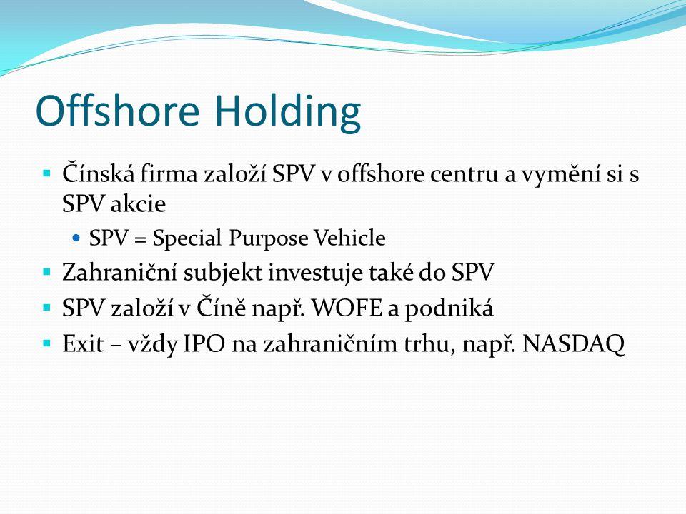 Offshore Holding Čínská firma založí SPV v offshore centru a vymění si s SPV akcie. SPV = Special Purpose Vehicle.