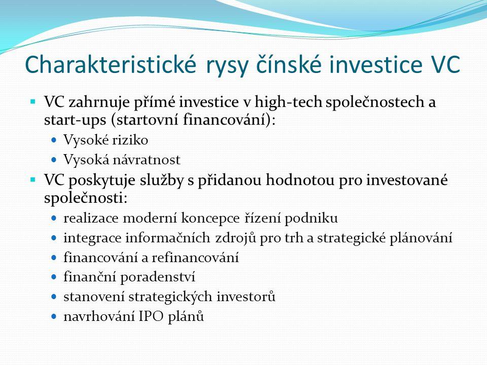 Charakteristické rysy čínské investice VC