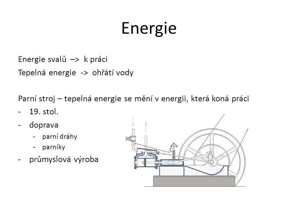 Energie Energie svalů –> k práci Tepelná energie -> ohřátí vody