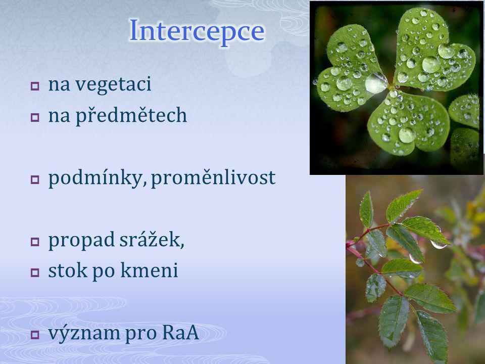 Intercepce na vegetaci na předmětech podmínky, proměnlivost