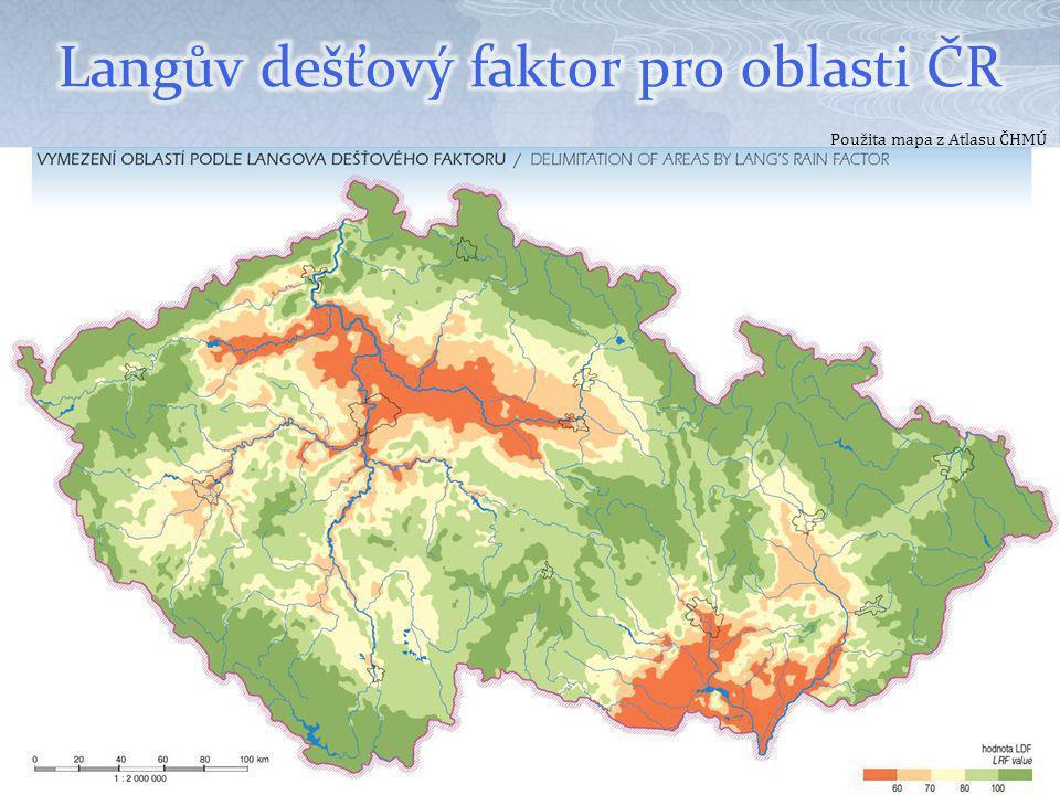Langův dešťový faktor pro oblasti ČR