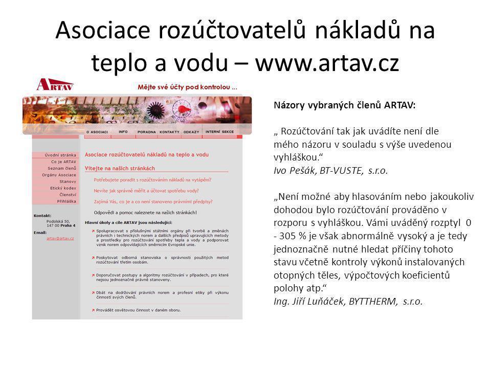 Asociace rozúčtovatelů nákladů na teplo a vodu – www.artav.cz