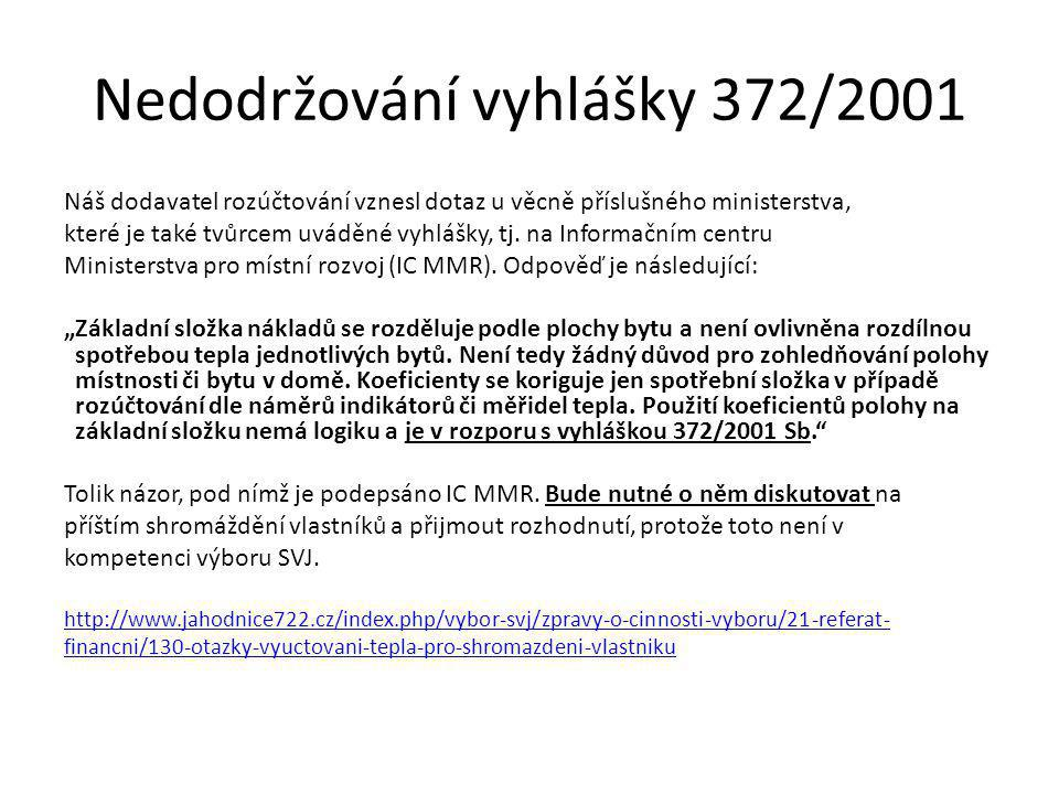 Nedodržování vyhlášky 372/2001