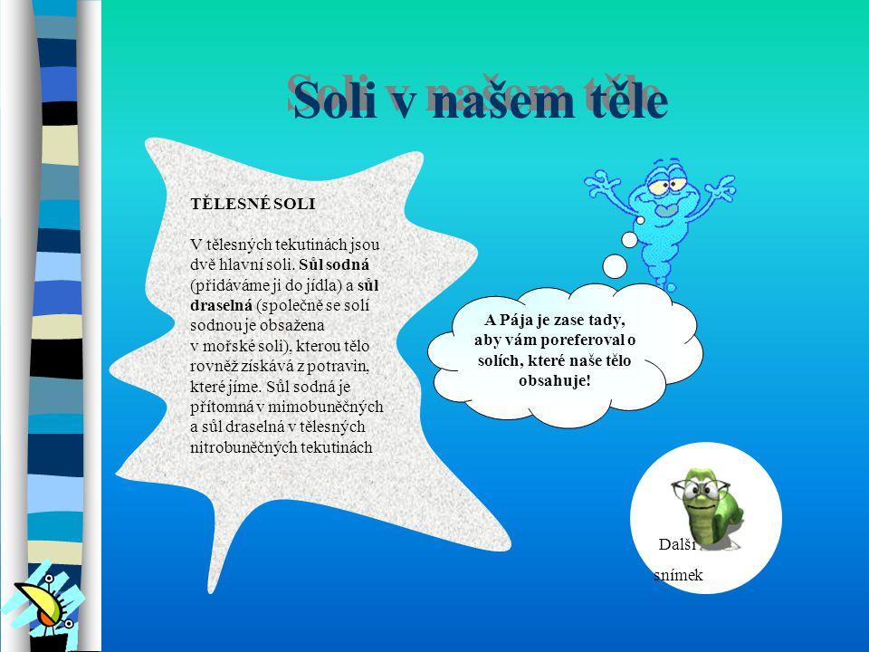 Soli v našem těle TĚLESNÉ SOLI