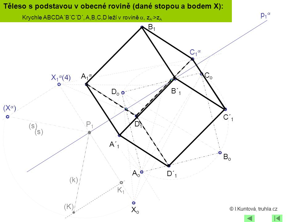 Těleso s podstavou v obecné rovině (dané stopou a bodem X): p1a