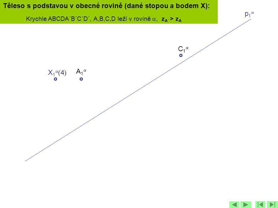 Těleso s podstavou v obecné rovině (dané stopou a bodem X):