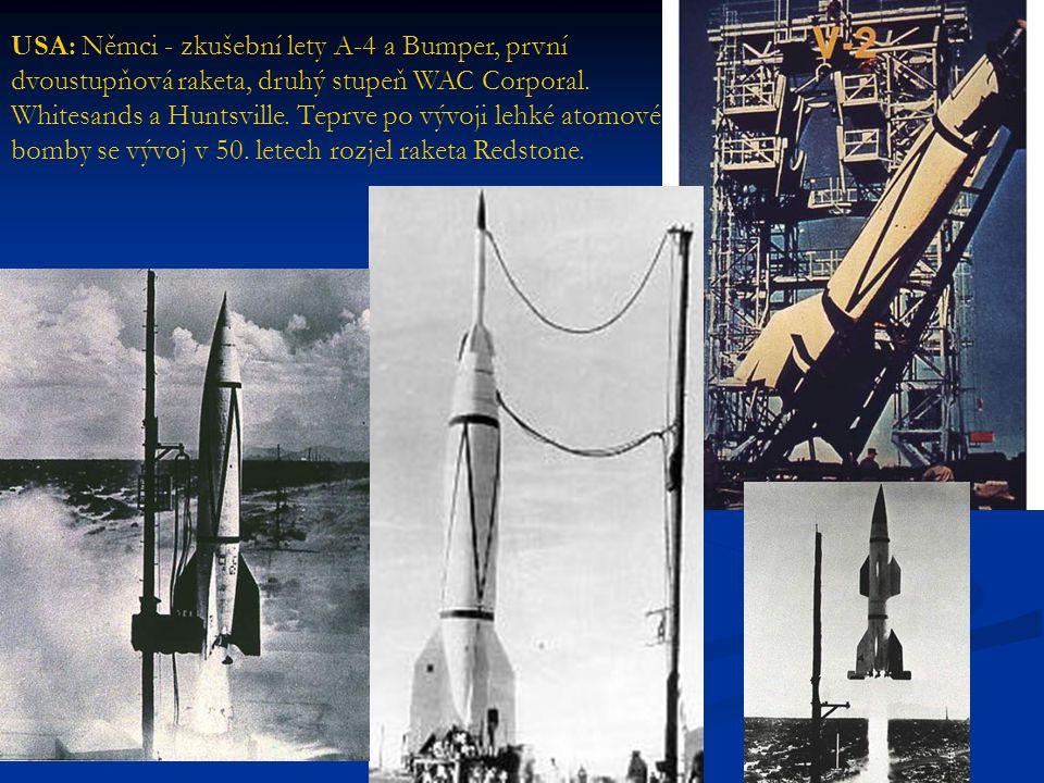 USA: Němci - zkušební lety A-4 a Bumper, první dvoustupňová raketa, druhý stupeň WAC Corporal.