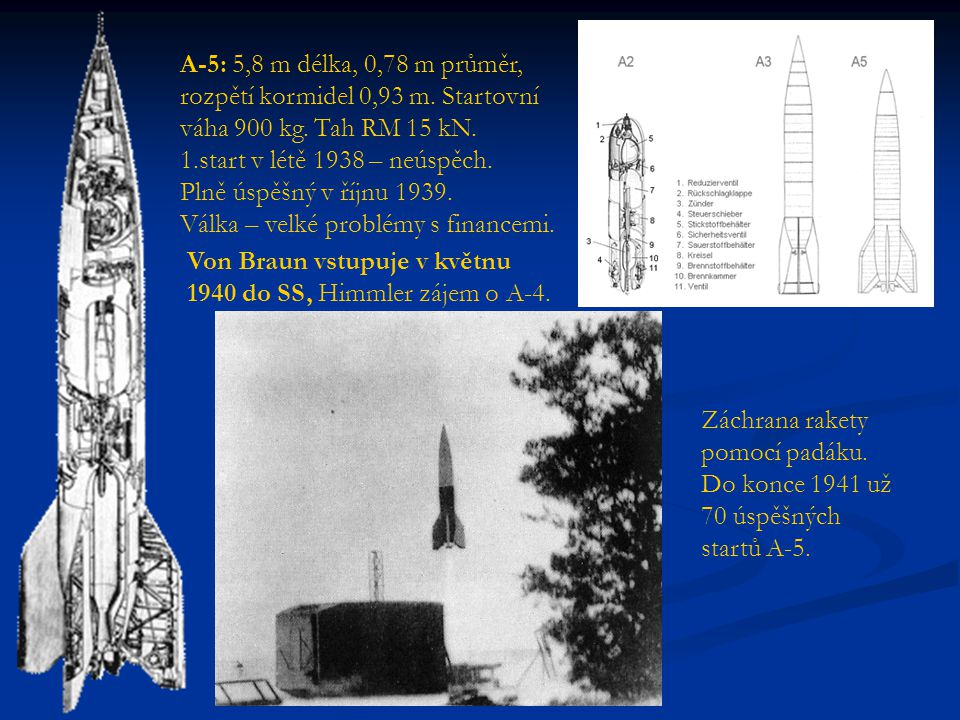 A-5: 5,8 m délka, 0,78 m průměr, rozpětí kormidel 0,93 m