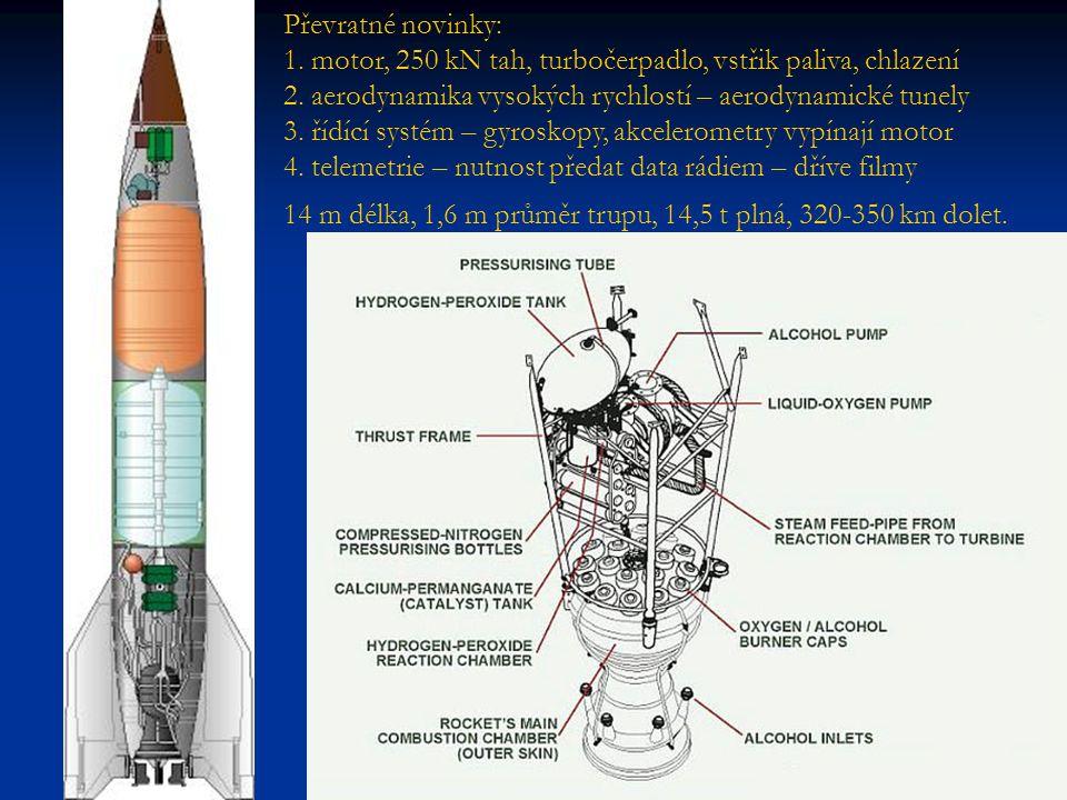 Převratné novinky: 1. motor, 250 kN tah, turbočerpadlo, vstřik paliva, chlazení 2. aerodynamika vysokých rychlostí – aerodynamické tunely 3. řídící systém – gyroskopy, akcelerometry vypínají motor 4. telemetrie – nutnost předat data rádiem – dříve filmy