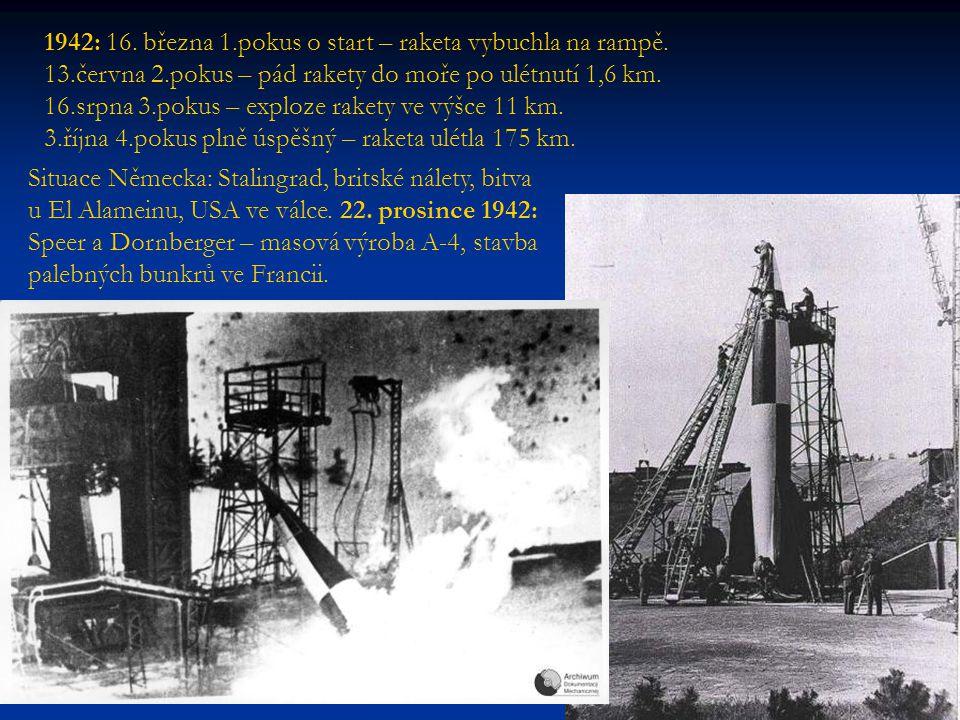 1942: 16. března 1. pokus o start – raketa vybuchla na rampě. 13