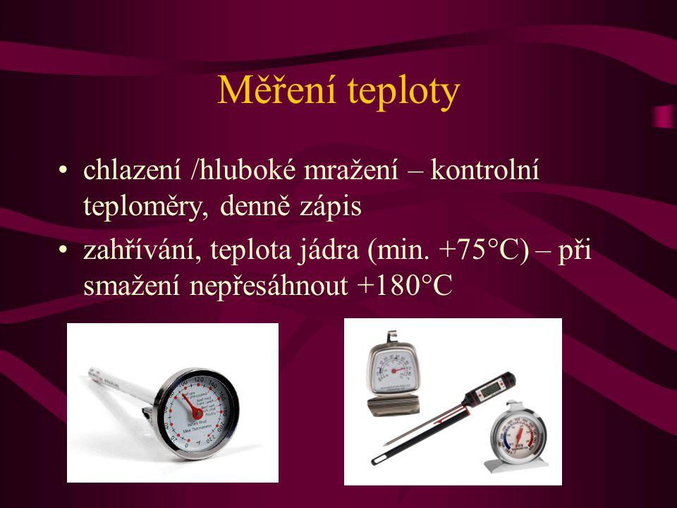 Měření teploty chlazení /hluboké mražení – kontrolní teploměry, denně zápis.