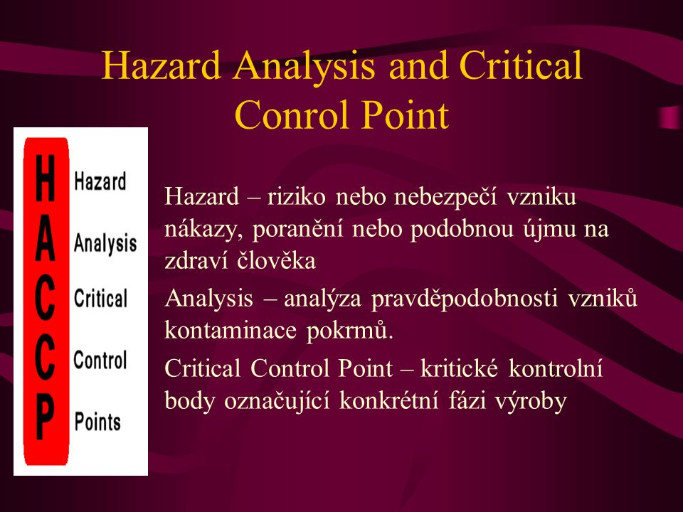 Hazard Analysis and Critical Conrol Point