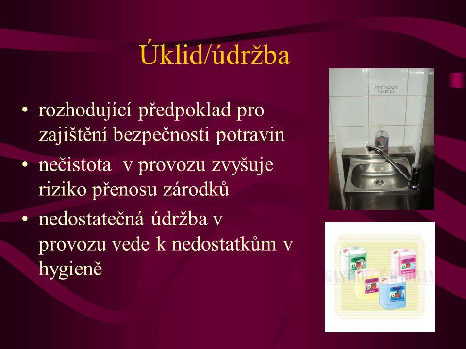 Úklid/údržba rozhodující předpoklad pro zajištění bezpečnosti potravin