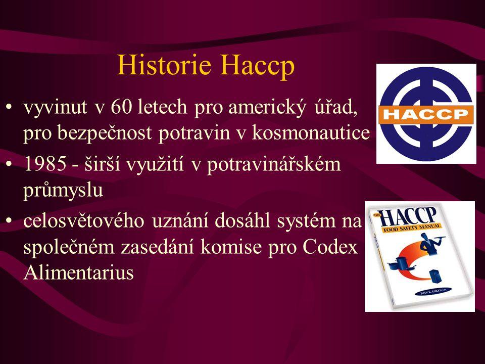 Historie Haccp vyvinut v 60 letech pro americký úřad, pro bezpečnost potravin v kosmonautice. 1985 - širší využití v potravinářském průmyslu.