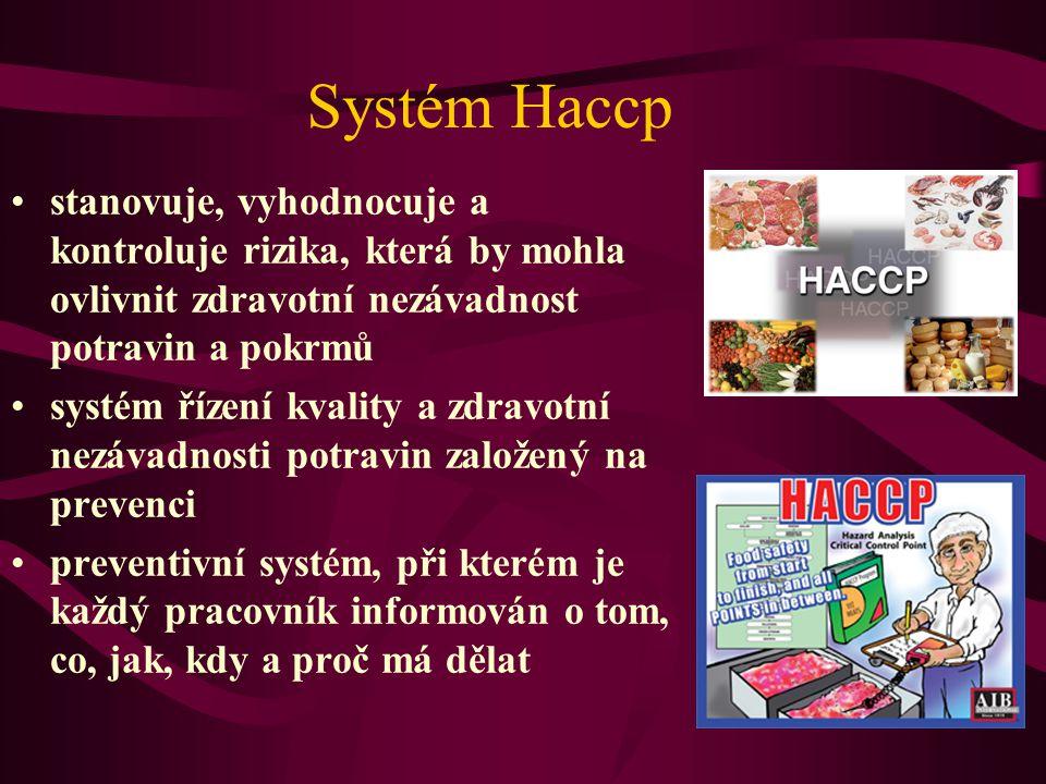 Systém Haccp stanovuje, vyhodnocuje a kontroluje rizika, která by mohla ovlivnit zdravotní nezávadnost potravin a pokrmů.