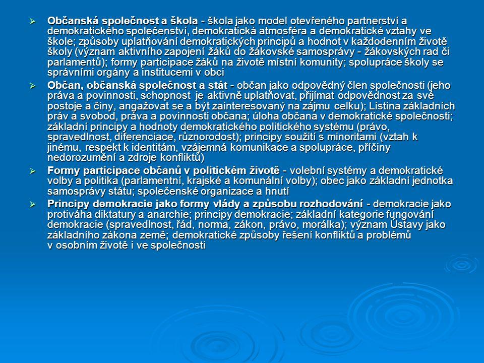 Občanská společnost a škola - škola jako model otevřeného partnerství a demokratického společenství, demokratická atmosféra a demokratické vztahy ve škole; způsoby uplatňování demokratických principů a hodnot v každodenním životě školy (význam aktivního zapojení žáků do žákovské samosprávy - žákovských rad či parlamentů); formy participace žáků na životě místní komunity; spolupráce školy se správními orgány a institucemi v obci