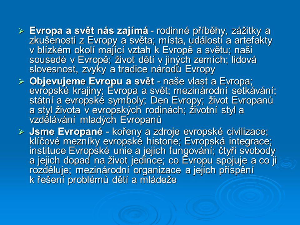 Evropa a svět nás zajímá - rodinné příběhy, zážitky a zkušenosti z Evropy a světa; místa, události a artefakty v blízkém okolí mající vztah k Evropě a světu; naši sousedé v Evropě; život dětí v jiných zemích; lidová slovesnost, zvyky a tradice národů Evropy