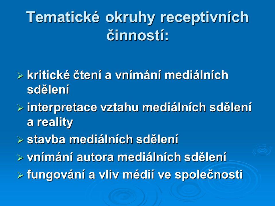 Tematické okruhy receptivních činností: