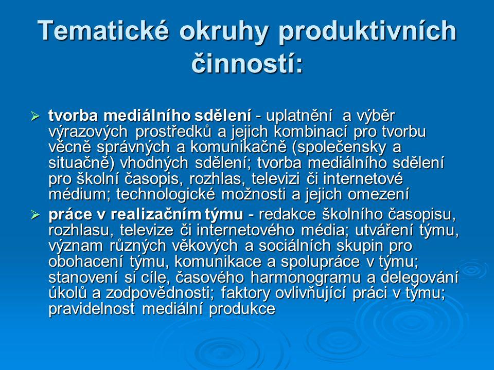Tematické okruhy produktivních činností: