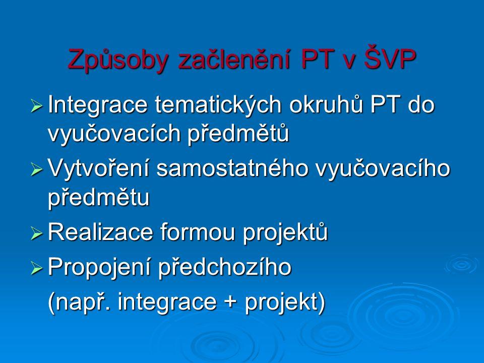 Způsoby začlenění PT v ŠVP