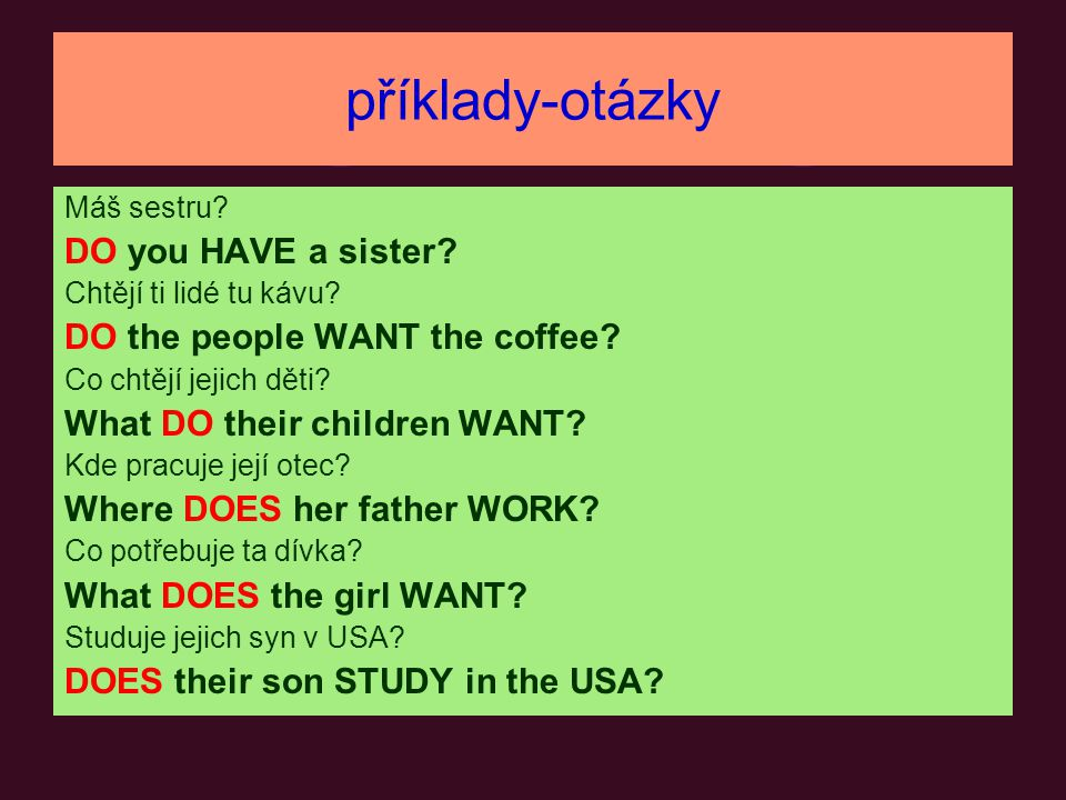 příklady-otázky DO you HAVE a sister DO the people WANT the coffee
