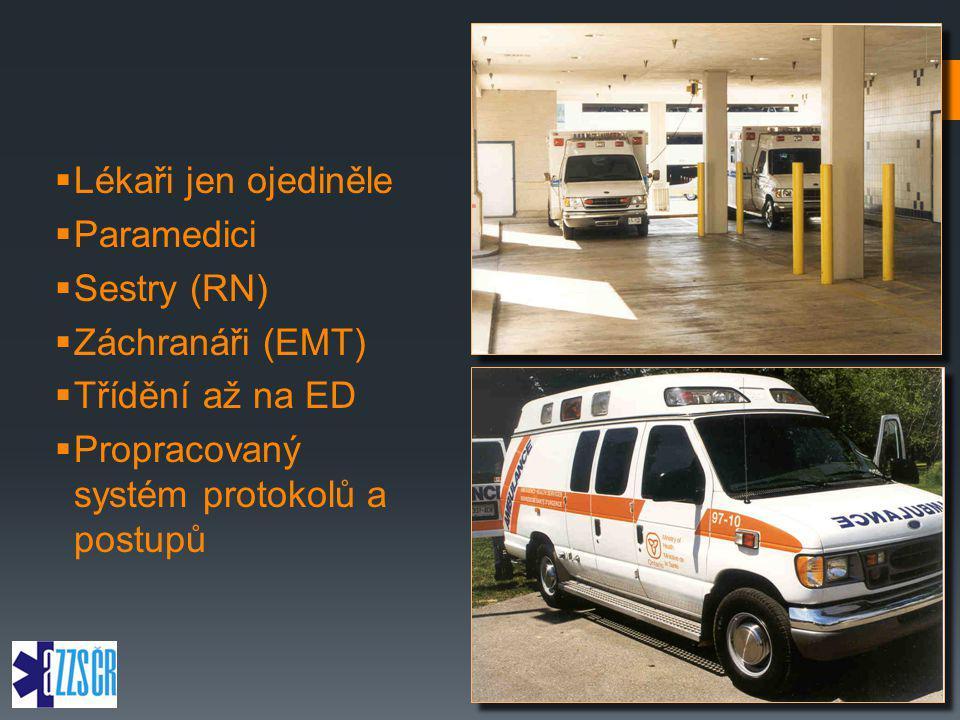 Lékaři jen ojediněle Paramedici. Sestry (RN) Záchranáři (EMT) Třídění až na ED.