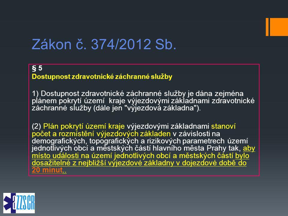 Zákon č. 374/2012 Sb. § 5. Dostupnost zdravotnické záchranné služby.