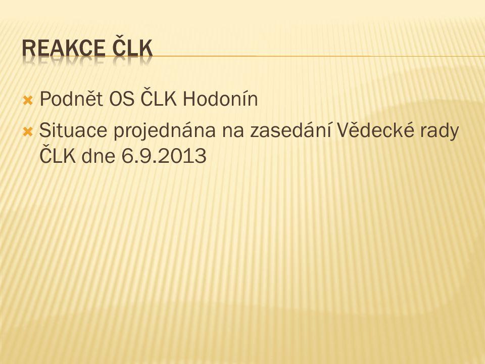 Reakce čLK Podnět OS ČLK Hodonín
