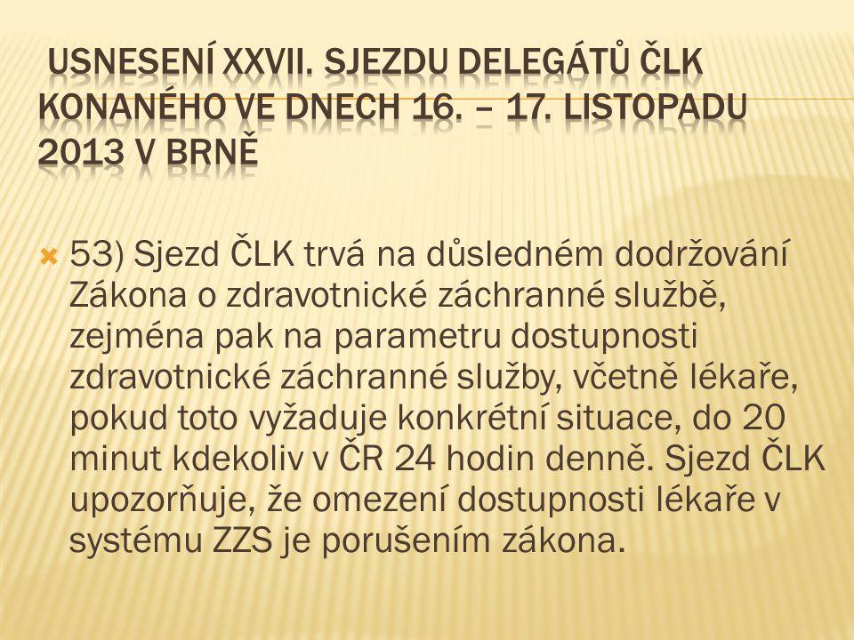 Usnesení XXVII. sjezdu delegátů ČLK konaného ve dnech 16. – 17